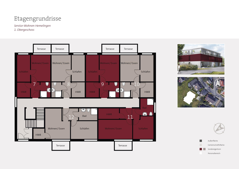 Grundriss 1 Etage Betreutes Wohnen Bremen Hemelingen