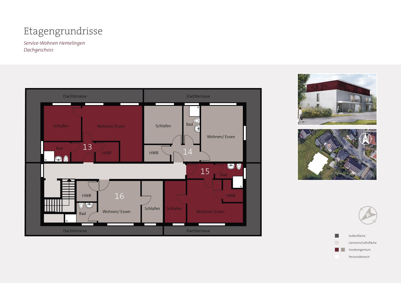 Grundriss Dachgeschoss Betreutes Wohnen Bremen Hemelingen