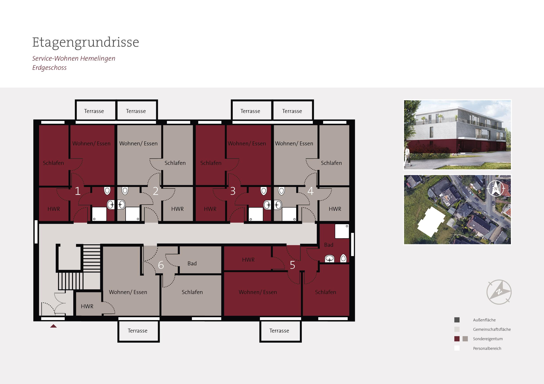 Grundriss Erdgeschoss Betreutes Wohnen Bremen Hemelingen