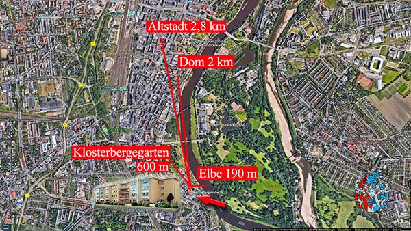 Stadtplan Magdeburg Entfernung Pflegeheim Altstadt Elbe Elbauen Dom Park