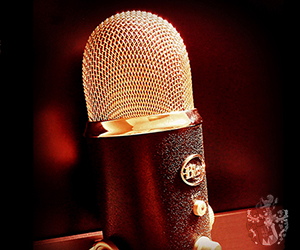 Podcast Pflegeimmobilie Geldanlage Infothek Mikrophon Blue Yeti Wappen