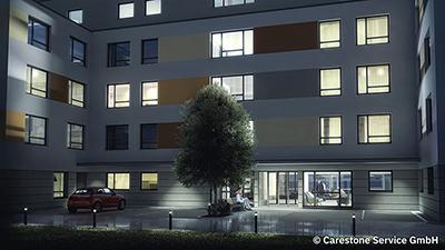 Pflegeheim Meiningen Aussenansicht bei Nacht